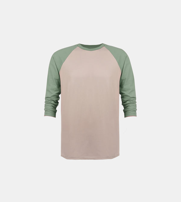 Essential Blend 2-Tone Long Sleeve Raglan (Taupe/Green)