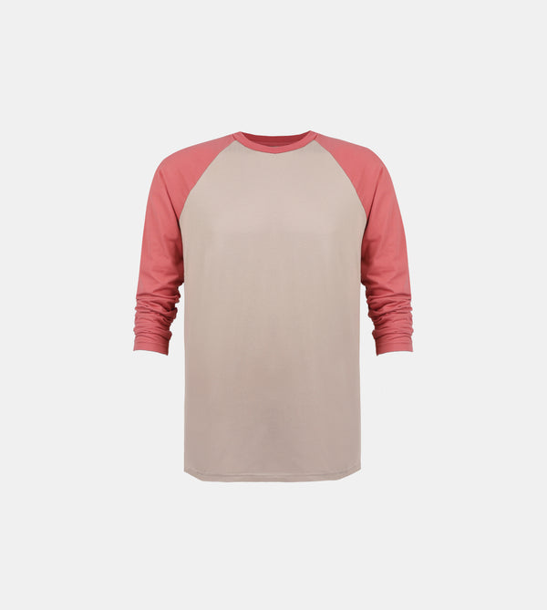 Essential Blend 2-Tone Long Sleeve Raglan (Taupe/Melon)