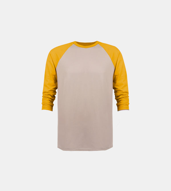 Essential Blend 2-Tone Long Sleeve Raglan (Taupe/Mustard)
