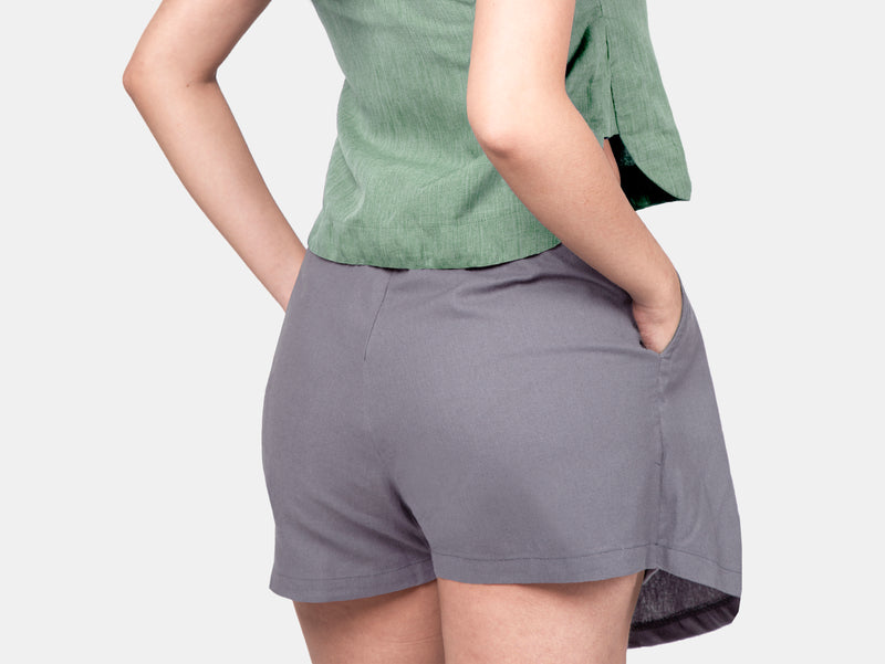 Twill Weave Summer Skorts (Gray)
