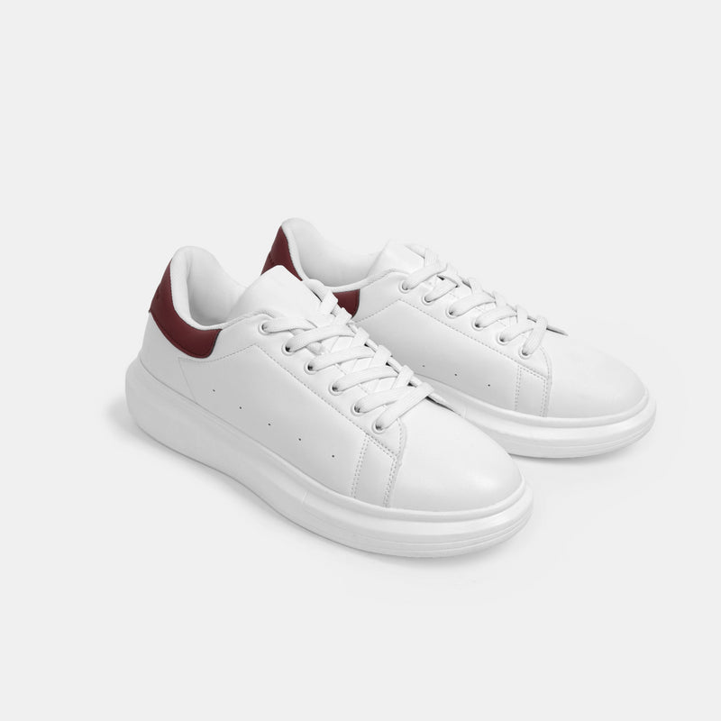 Men's Superlight White Sneakers (Maroon)