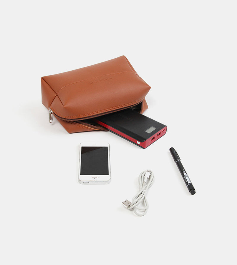Leather Pouch (Tan) - Flatlay