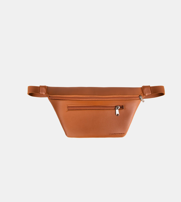 Daily Vegan Leather Multi-Pocket Belt Bag (Tan)