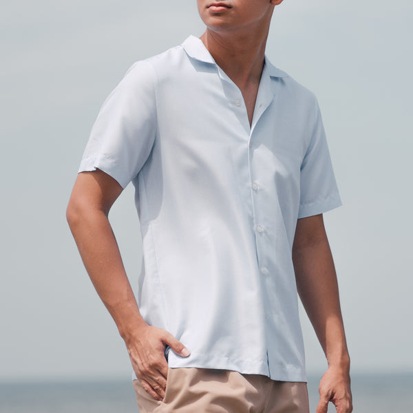Tropics Cuban Shirt (Micro Light Blue)