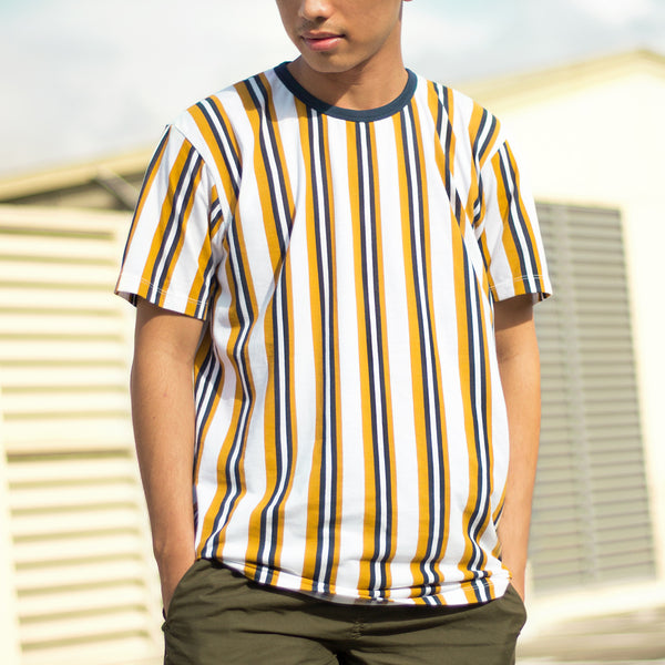 Essential Blend Vertical Striped Tee (Navy Blue / Mustard)