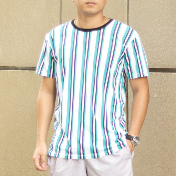 Essential Blend Vertical Striped Tee (Aqua Blue / Black)