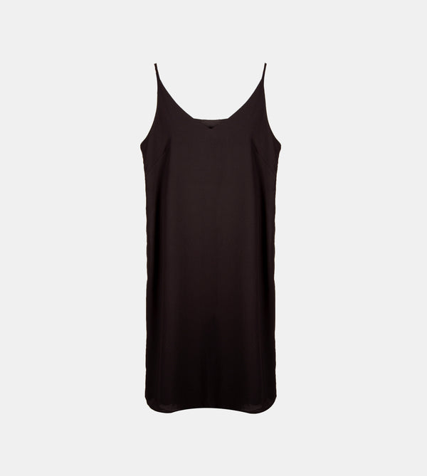 V-Neck Silk Crepe Slip Dress (Black)
