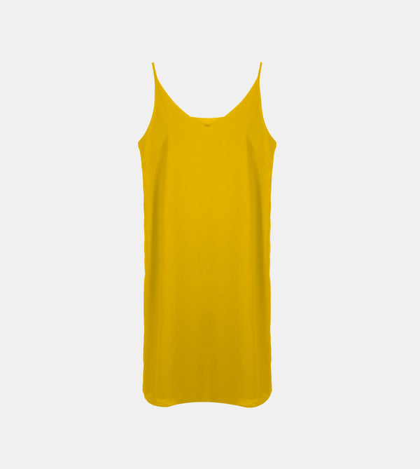 V-Neck Silk Crepe Slip Dress (Mustard)