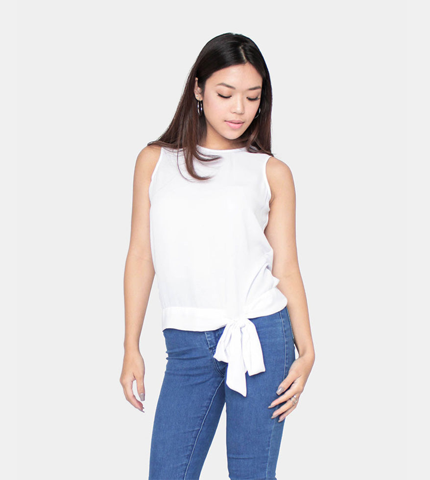 The Slow Down Sleeveless (White) - Front