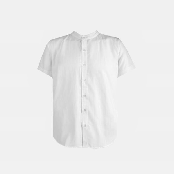 Japanese Chambray Mandarin Collar (French White)