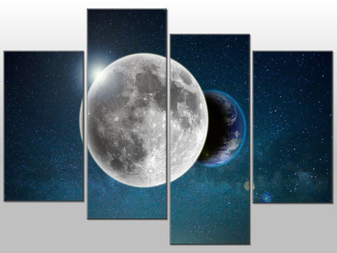 FULL MOON LARGE NIGHT SKY EARTH LARGE SPLIT PANEL 4 PANEL CANVAS WALL ART IMAGE