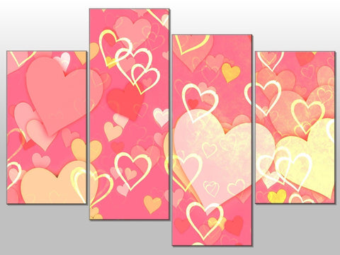 PINK WHITE YELLOW HEARTS PINK LARGE SPLIT PANEL CANVAS WALL ART IMAGE PICTURE