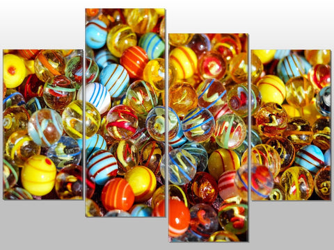 MULTI MARBLES BALLS TOYS CANVAS LARGE SPLIT PANEL 4 PANEL CANVAS WALL ART IMAGE