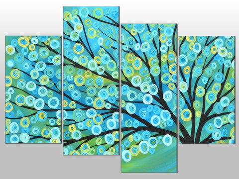 TURQUOISE ABSTRACT TREE CIRCLES LARGE SPLIT PANEL 4 PANEL CANVAS WALL ART IMAGE