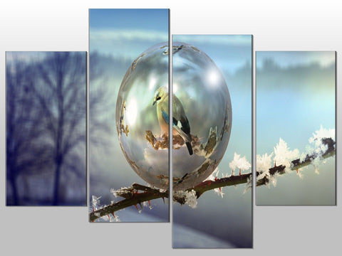 BIRD BUBBLE TREE FINCH NATURE LARGE SPLIT PANEL 4 PANEL CANVAS WALL ART IMAGE