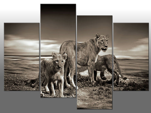 LION FAMILY PRIDE BLACK & WHITE LARGE SPLIT PANEL 4 PANEL CANVAS WALL ART IMAGE
