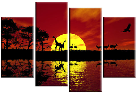 AFRICAN SUNSET ANIMALS RED TREES LARGE SPLIT PANEL 4 PANEL CANVAS WALL ART IMAGE