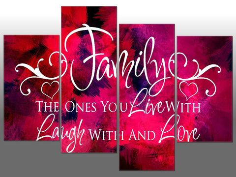 PINK ABSTRACT FAMILY LIVE LAUGH LOVE LARGE SPLIT PANEL 4 PANEL CANVAS WALL ART
