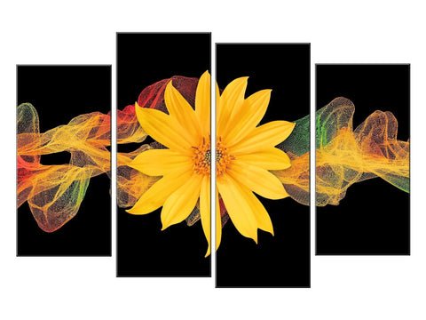 YELLOW BLACK FLOWER FLORAL LARGE SPLIT PANEL 4 PANEL CANVAS WALL ART IMAGE