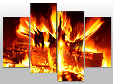 FIRE FLAMES WOOD CINDER ORANGE LARGE SPLIT PANEL 4 PANEL CANVAS WALL ART IMAGE