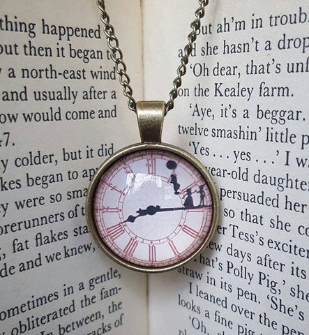Jewellery Necklace Cabachon Gift Present Peter Pan Clock Wendy Darling