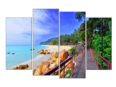 BEACH SEA SAND SHORE TRANQUILITY LARGE SPLIT PANEL 4 PANEL CANVAS WALL ART IMAGE