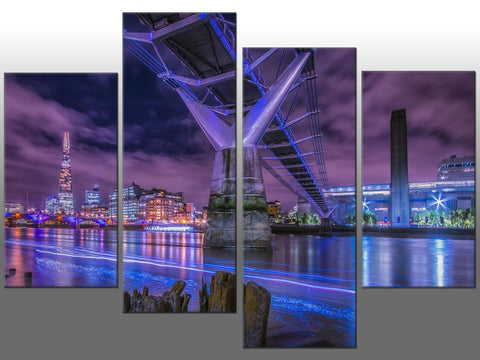 LONDON PURPLE BLUE CITYSCAPE LARGE SPLIT PANEL 4 PANEL CANVAS WALL ART IMAGE
