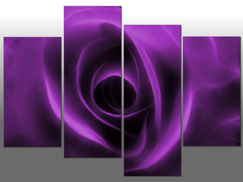 PURPLE ROSE LARGE SPLIT PANEL 4 PANEL CANVAS WALL ART IMAGE ROSE PURPLE