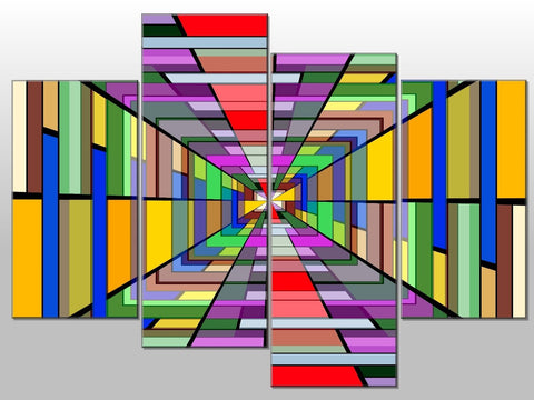 ABSTRACT MULTI COLOUR CUBE LINES LARGE SPLIT PANEL CANVAS WALL ART IMAGE PICTURE