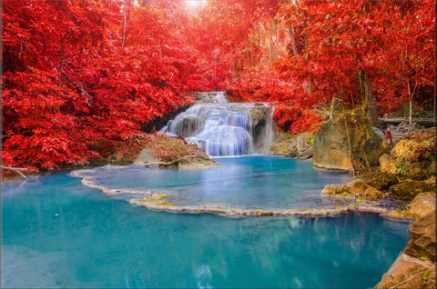 WATERFALL TREES NATURE WATER CANVAS WALL ART HANGING IMAGE NATURE COLOUR