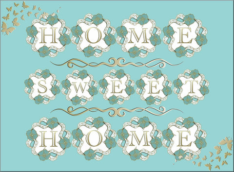 HOME SWEET HOME TURQUOISE CANVAS WALL ART IMAGE PICTURE COLOUR CAN BE CHANGED