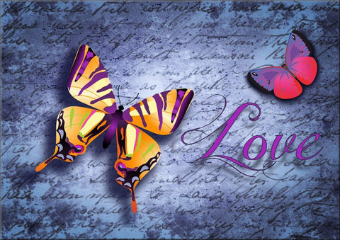 LOVE BUTTERFLIES CANVAS WALL HANGING IMAGE PHOTO PINK BLUE PURPLE