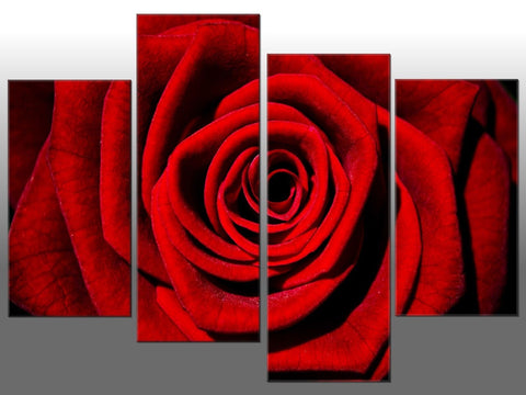 RED ROSE LARGE SPLIT PANEL 4 PANEL CANVAS WALL ART RED ROSE