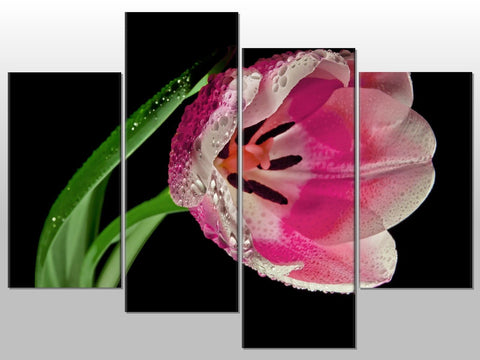 LARGE FLOWER PINK WHITE NATURE LARGE SPLIT PANEL 4 PANEL CANVAS WALL ART IMAGE