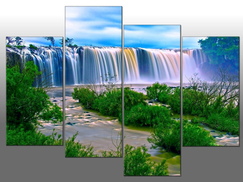WATERFALL LANDSCAPE WATER TREES LARGE SPLIT PANEL 4 PANEL CANVAS WALL ART IMAGE