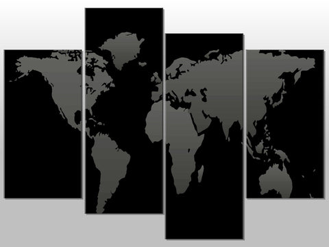 ATLAS BLACK GREY WORLD MAP LARGE SPLIT PANEL 4 PANEL CANVAS WALL ART IMAGE