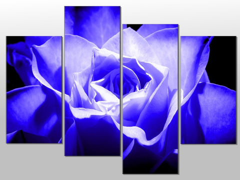 BLUE FLOWER CLOSE UP FLORAL LARGE SPLIT PANEL 4 PANEL CANVAS WALL ART IMAGE