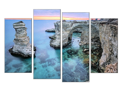 MELENDUGNO ITALY SEA BEACH CLIFF LARGE SPLIT PANEL 4 PANEL CANVAS WALL ART IMAGE
