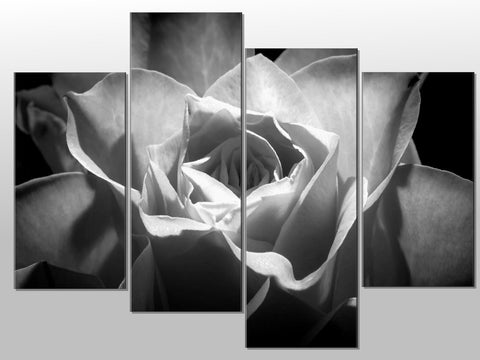 BLACK AND WHITE CLOSE UP FLOWER LARGE SPLIT PANEL 4 PANEL CANVAS WALL ART IMAGE