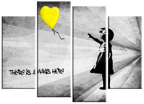 BANKSY YELLOW THERE IS HOPE LARGE SPLIT PANEL 4 PANEL CANVAS WALL ART IMAGE