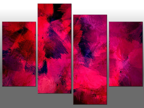 PINK PURPLE ABSTRACT ART LARGE SPLIT PANEL 4 PANEL CANVAS WALL ART IMAGE