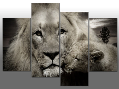 LION FATHER & CUB BLACK & WHITE LARGE SPLIT PANEL 4 PANEL CANVAS WALL ART IMAGE