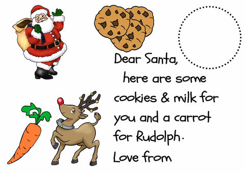 PERSONALISED LAMINATED PLACEMAT FATHER CHRISTMAS MILK CARROT RUDOLPH REINDEER