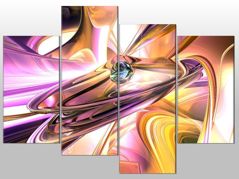 ABSTRACT ART MODERN BLUE PURPLE ORANGE LARGE SPLIT PANEL 4 PANEL CANVAS WALL ART