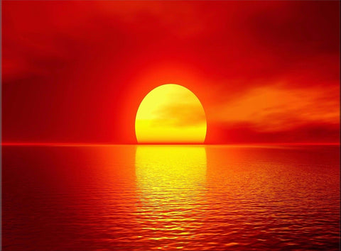 SUNSET SEA ORANGE RED SEASCAPE YELLOW CANVAS WALL HANGING PICTURE IMAGE PHOTO