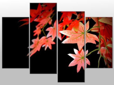 RED MAPLE LEAVES TREE BLACK BACKGROUND LARGE SPLIT PANEL CANVAS WALL ART IMAGE