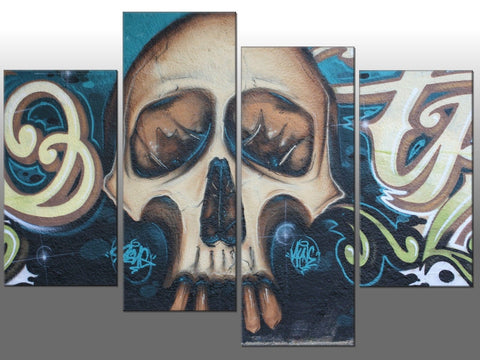 TURQUOISE TEAL SKULL ABSTRACT LARGE SPLIT PANEL 4 PANEL CANVAS WALL ART IMAGE