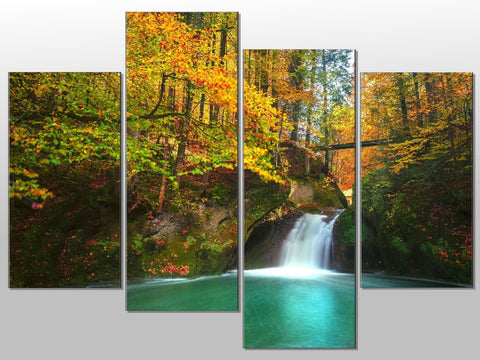 WATERFALL WOODS TREES NATURE LARGE SPLIT PANEL 4 PANEL CANVAS WALL ART IMAGE