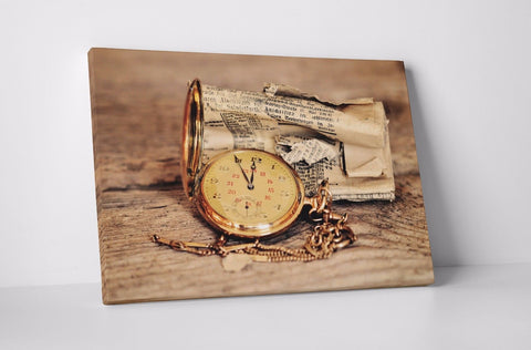 ANTIQUE COMPASS NEWSPAPER BROWN CREAM CANVAS WALL ART IMAGE WALL HANGING