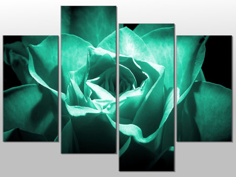 TURQUOISE FLOWER CLOSE UP FLORAL LARGE SPLIT PANEL 4 PANEL CANVAS WALL ART IMAGE